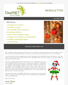 Deafnet December 2016 Newsletter