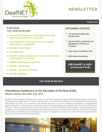 DeafNET Newsletter October 2015
