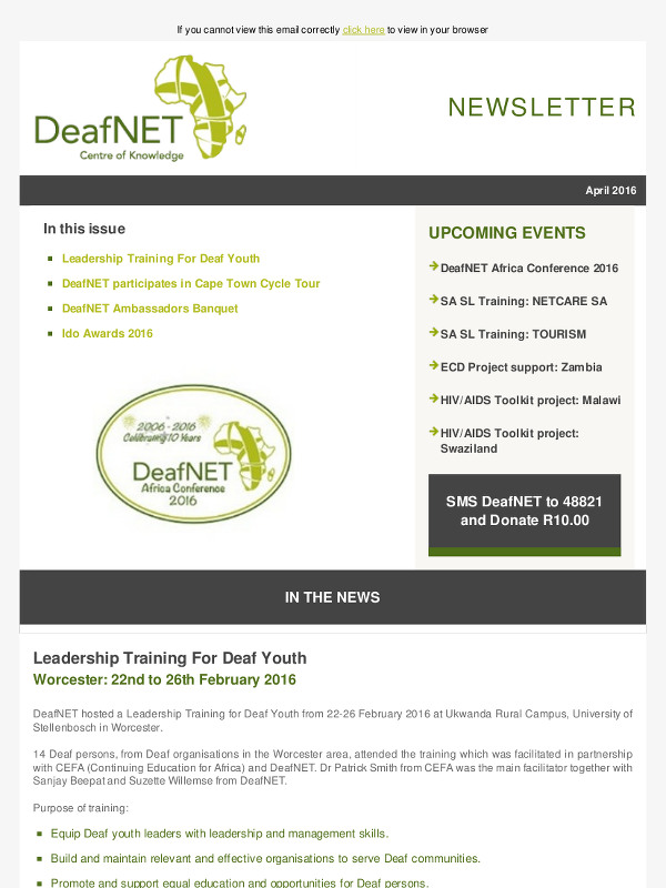 DeafNET Newsletter April 2016