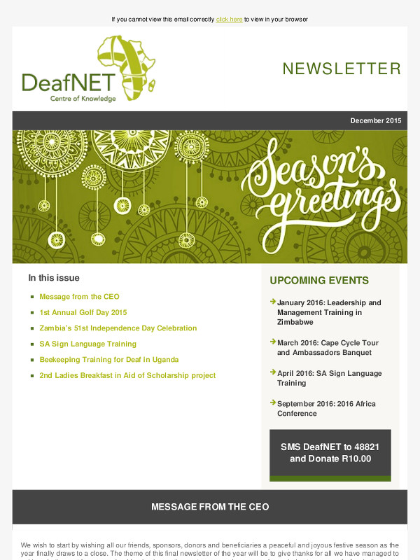 DeafNET Newsletter December 2015