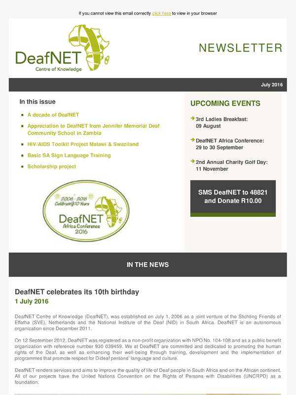 DeafNET Newsletter July 2016