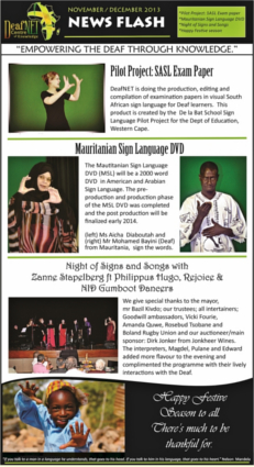 DeafNET Newsflash November/December 2013