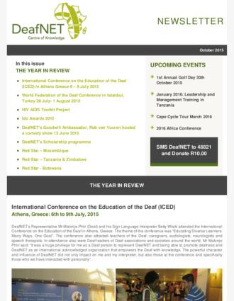 DeafNET Newsletter October 2015